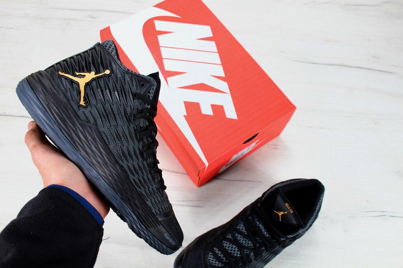 Кроссовки Nike Air Jordan Melo M13 black/gold. Живое фото. Топ качество (Реплика ААА+)