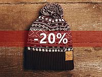 Зимняя шапка Staff, коричневый и белый, с помпоном, KS0023-1