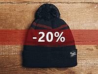Зимняя шапка Staff, красны и черный, с помпоном, KS0058-3