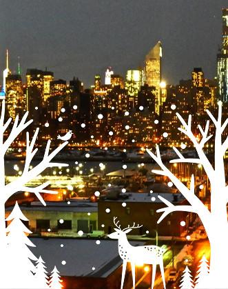 """Новорічна наклейка на вікно """"Зимовий ліс"""""""