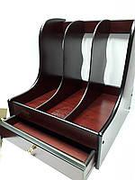 Лоток вертикальный-органайзер 4 в 1 деревянный для бумаг, папок и мелочей TN-8103