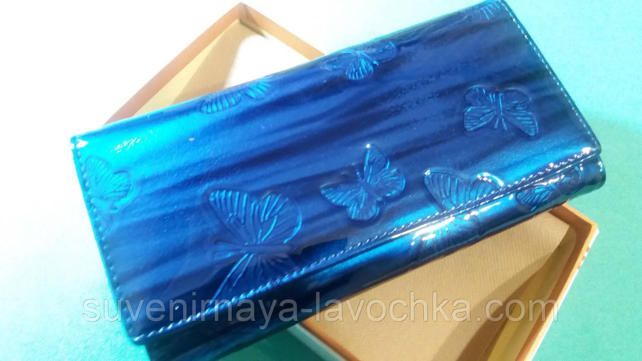 63d7de160630 Женский кошелек из натуральной кожи ( Лак Синий ) Cossroll на магните