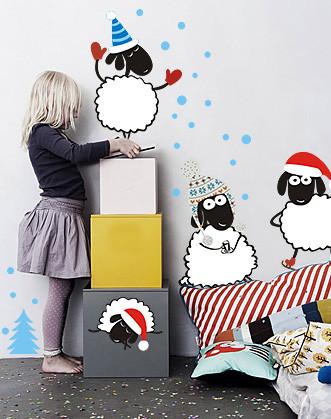 """Новорічні наклейки на стіну """"Новорічні баранці"""""""