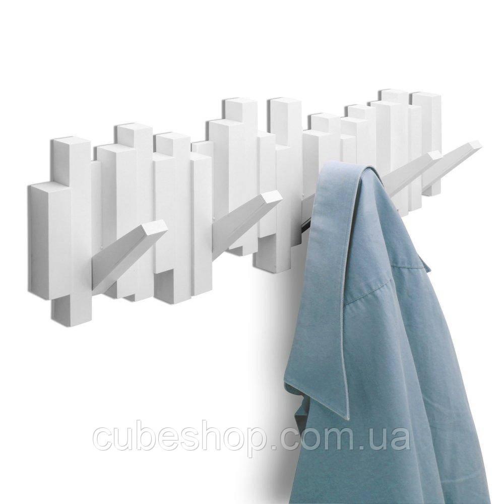 Вешалка Sticks Umbra (белая) для одежды настенная