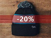 Зимняя шапка Staff черная с серым и голубым, KS0028