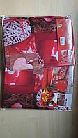 Скатерть новогодняя атлас 150*200 см принт Сердца, новогодние атласные скатерти оптом от производителя