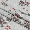Декоративная ткань с новогодним принтом серебряные ёлочки хлопок 80% Ткани на метраж для штор, рукоделия, фото 2