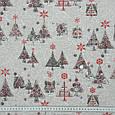 Декоративная ткань с новогодним принтом серебряные ёлочки хлопок 80% Ткани на метраж для штор, рукоделия, фото 3