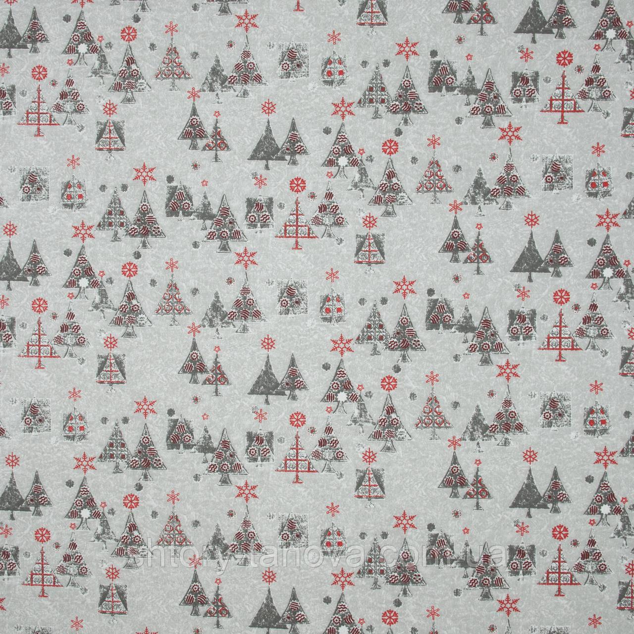Декоративная ткань с новогодним принтом серебряные ёлочки хлопок 80% Ткани на метраж для штор, рукоделия