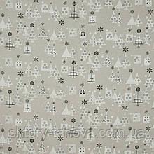 Декоративная ткань с новогодним принтом серые ёлочки для рукоделия, пэчворка, штор хлопок 80%