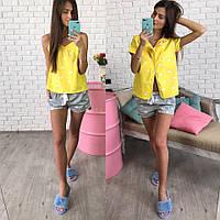 Модный комплект для дома и сна: рубашка на пуговицах и шорты (3 цвета)