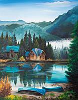 """Картина по контуру """"Дом в горах"""" (35x45) акриловая живопись"""