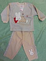 """Трикотажный домашний костюм для мальчика Ladora """"Спящий заяц""""бежевый  до 1 года"""