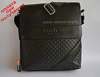 Мужская кожаная сумка барсетка через плечо бренд Polo Поло купить