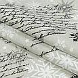 Декоративная ткань, хлопок 80%, полиэстер 20%, с новогодним принтом, серебряные снежинки, фото 2