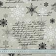 Декоративная ткань, хлопок 80%, полиэстер 20%, с новогодним принтом, серебряные снежинки, фото 3