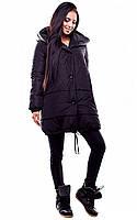 Тепла чорна зимова куртка вільного крою Unis (S, M)