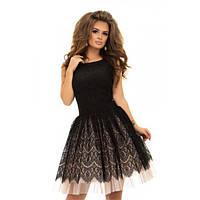 Коктейльное платье ажурный гипюр с пышной юбкой фатин