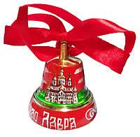 Колокольчик – подарочный (с лентой) ручная розпись, красный