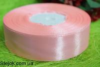 Лента атласная 25мм, 33м, нежно-розовая