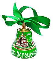 Колокольчик подарочный (с лентой) ручная розпись, зелёный