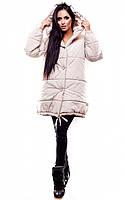 Тепла бежева зимова куртка вільного крою Unis (S, M)