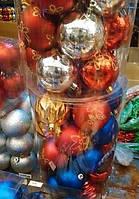 Елочные шары 24 шт. в упаковке ( диаметр 8 см ) ассорти