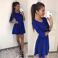 Платье классика; замшевое на дайвинге; 3 цвета; электрик