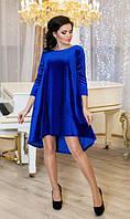 Велюровое платье СОЛНЫШКО электрик Lenida 42-50 размеры