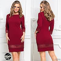 Коктейльное платье бордового цвета с кружевом. Модель 16744. Размеры 50-56