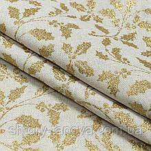 Тканьс рождественским принтом золотые листья падуба для скатертей, салфеток, раннеров хлопок 80%