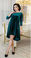 Велюровое зеленое платье СОЛНЫШКО Lenida 42-50 размеры