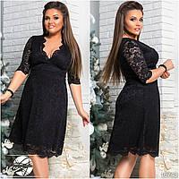 Вечернее платье черного цвета с гипюром. Модель 16743. Размеры 42-54.