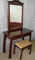 """Консоль """"Микель"""" (столик, пуфик, зеркало). Массив - ольха. Покрытие - """"лесной орех"""" (№ 44)"""