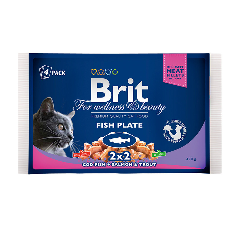 Brit Premium Cat pouch 100g *4шт - рыбная тарелка паучи в соусе 4 вкуса для кошек  ( 100276 /506248 )