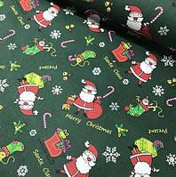 Новогодний текстиль Дед мороз на зеленом