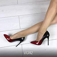Женские туфли на шпильке эколак лодочки