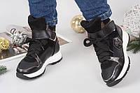 Зимние кроссовки PP.  Натур.кожа, внутри набивной мех. Высота 11см, подошв 4см. Р-р 36-40р Цвет черный+никель