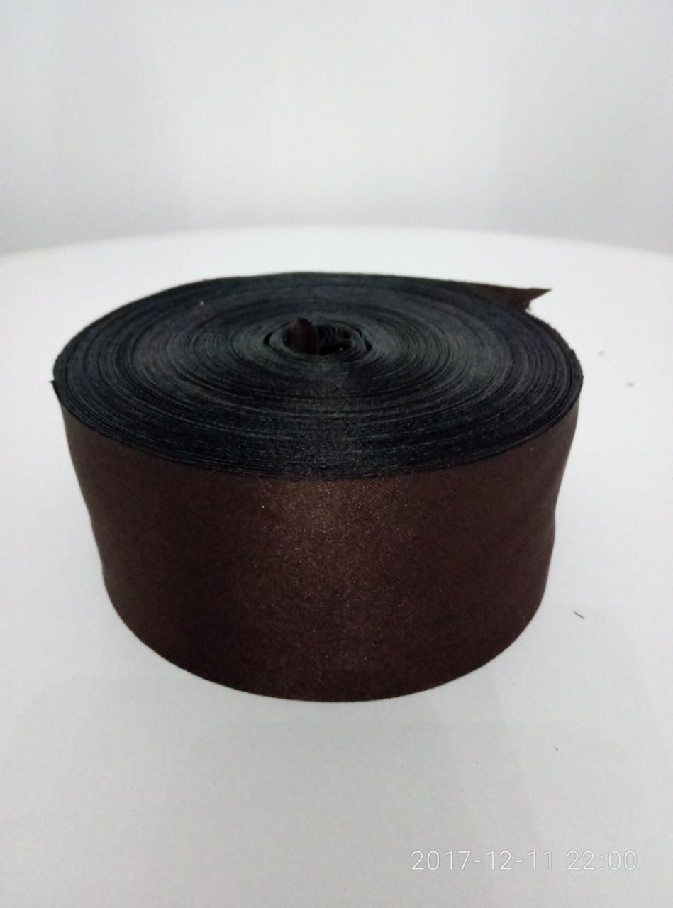 Лента коричневая атласная 5см.