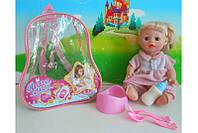 Кукла функц. 2 вида,пьет-писает,с бут,горшком,вилка,ложка в рюкзаке /72-2/