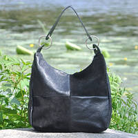 Кожаная женская сумка Неаполь велюр черная