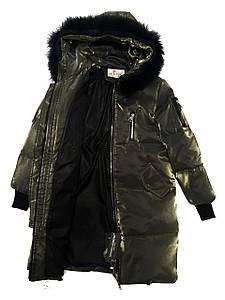Стильный детский зимний пуховик для девочки размеры 120-160