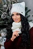 """Красивая женская шапочка """"Белая кошечка"""""""