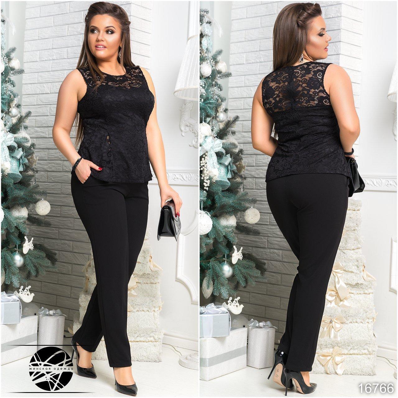 2919839a736 Женский брючный костюм с гипюровой блузой черного цвета. Модель 16766.  Размеры 42-54.