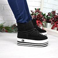 Сникерсы ботинки женские Steffy черные ЗИМА