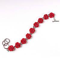 Браслет розы красные полимерная глина застежка Тогл Код:368135315