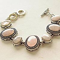 [15, 20 мм] Браслет с натуральным камнем Розовый кварц серый металл оправа крестик точка овальные камни Код:368135680