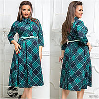 Элегантное женское платье бирюзового цвета в клетку. Модель 16763. Размеры 48-54