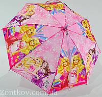 """Дитячий парасольку тростину """"Barbie"""" на 5-9 років з пластикової спицею від фірми """"SunnRain"""", фото 1"""