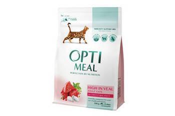 Сухой корм Optimeal Оптимил для кошек с высоким содержанием телятины, 4 кг